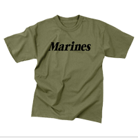 T-Shirt: Classic Marines (Black on Olive Drab)