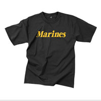 T-Shirt: Classic Marines (Yellow on Black)