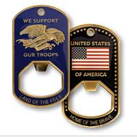 Z Bottle Opener: Support Our Troops, Dog Tag