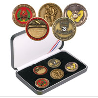 Coin Gift Set: Custom 5-coin set w/ Engraved Rank Coin, New Marine