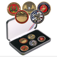 Coin Gift Set: Custom 5-coin set w/ Engraved Rank Coin, Combat Marine or Veteran