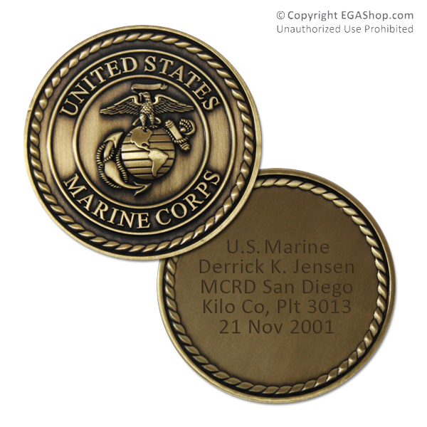 Custom Engraved Coin with Marine Corps Crest