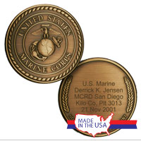 _Custom Engraved Coin with Marine Corps Crest