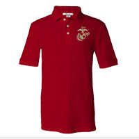 _NEW Embroidered Polo, Red w/ Gold EGA