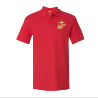 Gildan Embroidered Polo, Red w/ Gold EGA