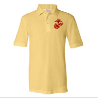 _NEW Embroidered Polo, Yellow w/ Red EGA