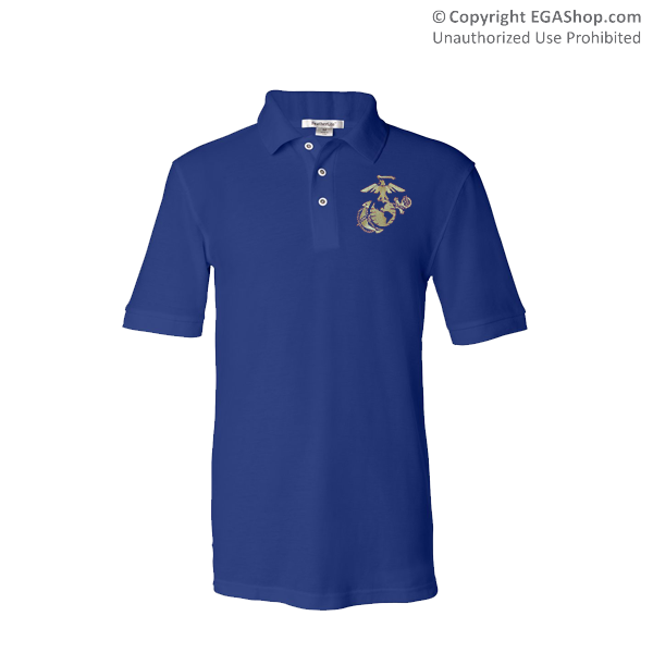 _NEW Embroidered Polo, Royal Blue w/ Gold EGA