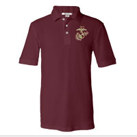 _NEW Embroidered Polo, Maroon w/ Gold EGA