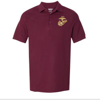 Polo, Embroidered: Maroon w/ Gold EGA