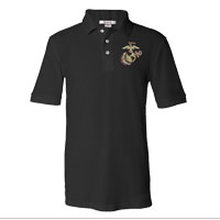 _NEW Embroidered Polo, Black w/ Gold EGA