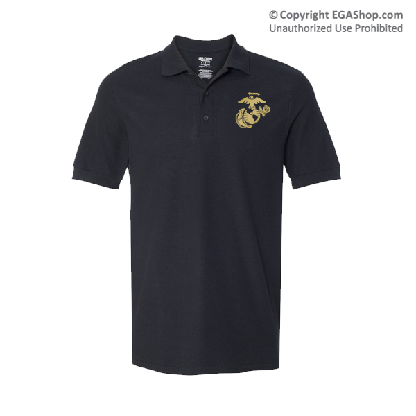 Gildan Embroidered Polo, Black w/ Gold EGA