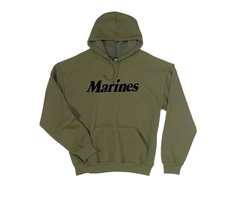 Z Sweatshirt, Hooded Pullover: Marines on Olive Drab (ADULT)