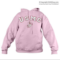 Sweatshirt, Hooded Pullover: EGA and USMC on Pink
