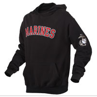 Hoodie: Marines on Black (Embroidered)