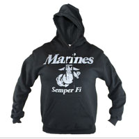 Z Sweatshirt, Hooded Pullover: Marines & Semper Fi on Black