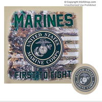 T-Shirt: Real Tree Marines Seal with Flag (Tan)