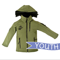 Youth Jacket: Green Softshell Jacket with EGA