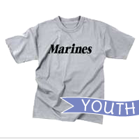 T-Shirt: Classic Marines (YOUTH, Black on Grey)