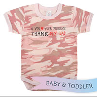 Baby Onesie: Thank My Dad Pink Camo