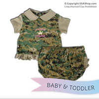 Baby Set: Marine Princess Dress w/ Ruffled Panties (Woodland)
