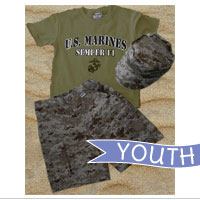 Youth Set: Shorts, Olive Drab Shirt and Cover (Dark Desert Digital 3-pc)