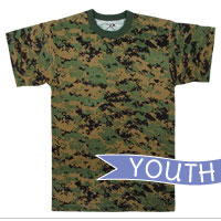Camo T-Shirt: Youth Camouflage (Woodland Digital)