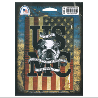 Decal: USMC Bulldog with USA Flag