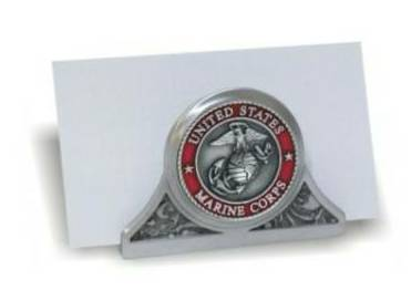 Business card holder marine corps seal pewter desk for Marine corps business cards