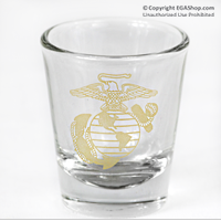 Shotglass: Clear w/Eagle, Globe and Anchor