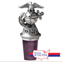 Bottle Stopper: Marines Eagle Globe & Anchor (Pewter)