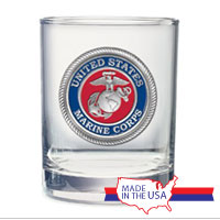 Double Old-Fashioned Glass, Pewter: Marine Corps
