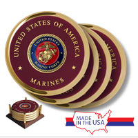 Coaster Set, Brass: Marine Corps