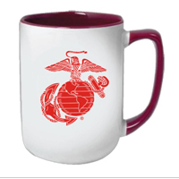 Coffee Mug: Red EGA on White with Maroon