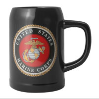Stein: USMC Seal on Black Tankard Black Stein