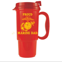 Travel Mug: Red Mug with Proud Marine Dad and EGA