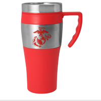 Travel Mug: Red EGA on Red Mug with Stainless Steel Sleeve