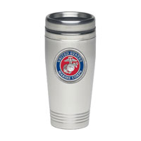 Travel Mug: Stainless Steel w/ USMC Seal (Pewter)