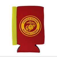 Koozie, Can: Marine Corps Seal (gold on Red)