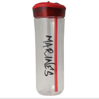 Water Bottle: Clear with Red Lid and Marines
