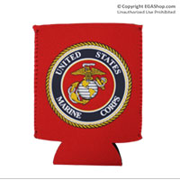 Koozie, Can: Marine Corps Seal (full-color on Red)