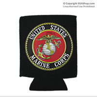 Koozie, Can: Marine Corps Seal (full-color on Black)