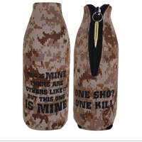 Koozie, Bottle: Desert Camo w/ Zipper - 1 Shot 1 Kill