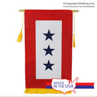 Service Flag, (Blue Star Banner) 3 Star w/ Gold Fringe (Made in the USA)