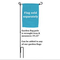 "** Garden Flag POLE **** (Wrought Iron, 39.25"") **"