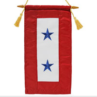 Service Flag, (Blue Star Banner) 2 Star (Embroidered)