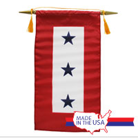 Service Flag, (Blue Star Banner) 3 Star (Made in the USA)