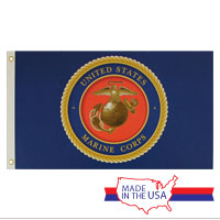 Flag, Marine Corps Seal - Blue: 3x5  (Made in USA!)