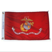 "Cloth Adhesive: USMC Flag w/Silver Push Pins, 12""x19.5"""