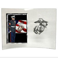 "Photo Frame: Glass w/ pewter EGA holds 4""x6"" Photo"