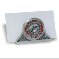 Business Card Holder: Marine Corps Seal (pewter, desk)